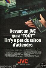 Publicité advertising 1988 TV Hi Fi Video magnetoscope  VHS JVC