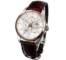 Casio Edifice EF341L-7A Mens Brown Leather Band Multiple Dial 100M Dress Watch