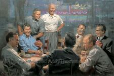 GRAND OL' GANG, 30x45 S/N Canvas,(Republican Pres. Playing Poker) Andy Thomas