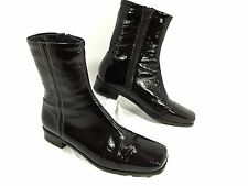 La Canadienne Calf High Boots Choc Brown Patent Leather Sz 8.5 M Waterproof EUC