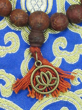 CUSTOM DESIGN LARGE 14MM BODHI SEED W/ LOTUS SYMBOL Tibet Buddhist WRIST MALA