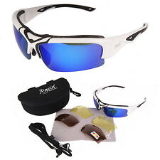 Toledo White UV400 POLARISED Sports Sunglasses With INTERCHANGEABLE LENSES