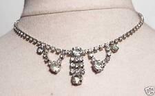 Collier ancien couleur argent cristal diamant swarovski habillé élégant  /214