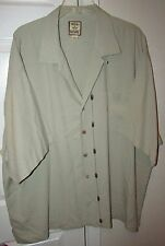 Tommy Bahama 100% Silk Hawaiian Camp Shirt 2XL Tan with Pineapple Design EUC