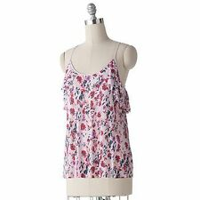 LC Lauren Conrad Pink Floral Ruffle Racerback Camisole Tank Top, Small, FREE S&H