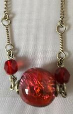 Stunning Vintage Murano Red Foil Bead Silver Necklace