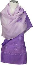 Schal mit Stickerei Lila Farbverlauf Wolle Seide scarf Foulard Echarpe violet