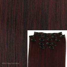 """8 20"""" #99J Deep Red Wine Full Head Clip In Synthetic Fiber Hair Weft Extensions"""