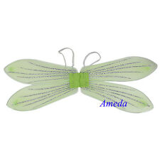 Halloween Xmas Girls Tinkerbell Princess Fairy Angel Bling Green Wings Costume