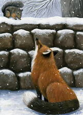 Red fox squirrel wildlife winter snow stone wall limited edition aceo print art