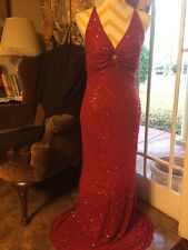 DAVID'S BRIDAL RED WITH PINK SEQUINS  FORMAL PARTY DRESS GOWN SIZE L