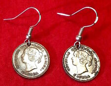 British Queen Victoria Silver Tone Canada 5 Cents Coin Earrings w/ Silver Hooks
