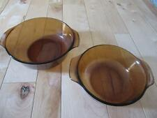 ANCHOR HOCKING 1 QT AND 1 1/2 QT BAKERS CASSEROLES BAKING DISHES AMBER HANDLES