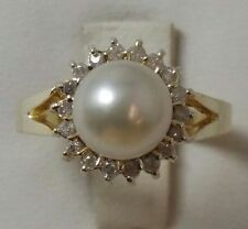 14K SOLID YELLOW GOLD PEARL & DIAMONDS LADIES RING