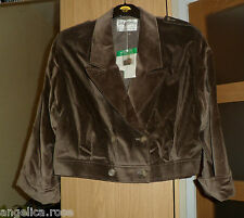 VINTAGE JAEGER MINK BROWN CORDUROY LONG SLEEVE SHORT JACKET UK 14 RP £109 NEW