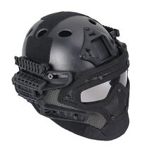 Tactical Protective Full Face Mesh Mask Goggles Armor System FAST Bump Helmet