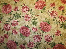VINTAGE PARIS ROSES ANTIQUE ROSE FLOWER NATURAL COTTON FABRIC BTHY