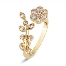 Woman Girls Gold Crystal Flower Leaf Branch Open Ring Gold/Silver Jewelry Gift