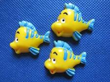 5 x 35MM YELLOW FISH FLAT BACK RESIN HEADBANDS BOWS CARD MAKING PLAQUES
