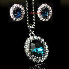 White Gold Fill Blue Sapphire Swarovski Crystal Birthstone Set Wedding Set XS12