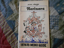 1974-75 SAN DIEGO MARINERS MEDIA GUIDE Yearbook FIRST YR WHA TEAM 1975 Hockey AD