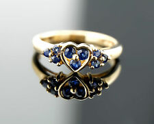 Vtg Estate Solid 10k Yellow Gold 3.2g Blue Sapphire Heart Ring sz 7