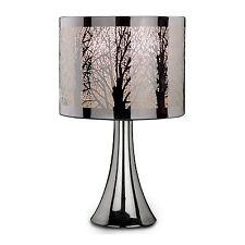 NEW SILVER CHROME TREE SCENE DIMMER TOUCH LAMP LIGHT TABLE BEDROOM DESK BEDSIDE