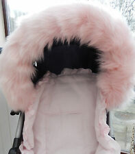 PRAM PUSHCHAIR PINK FAUX FUR HOOD TRIM - FITS ALL HOODS  - STUNNING