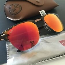 Ray-Ban RB8056 Clubmaster Light Ray Tortoise Brown Mirrored Sunglasses Italy NWT