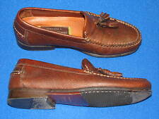 8.5 M Johnston Murphy Brown Distressed Leather Mens shoes Loafer Tassel 020-1214