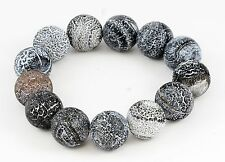 UNIQUE Polished Volcano Lava Rock Bead Bracelet 13 Beads Elastic 7""