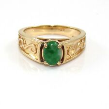 Vintage Solid 14K Yellow Gold Green Jade Scroll Estate Ring Size 6.5 VK