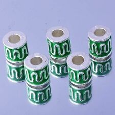 5pcs Silver green Enamel wave Beads for sterling silver charms jewelry making