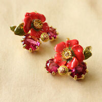 Costume Fashion Earrings Studs Enamel Flower Red Leaves Vintage Gift Events