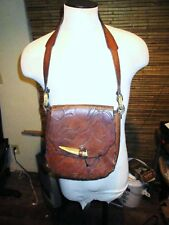 Vtg Large.60s/70s Saddle Shoulder Bag Purse Tooled Stamped Leather Hippie Boho.