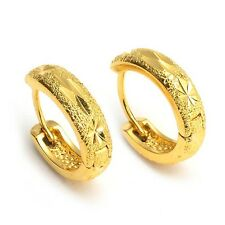 New Arrival 18k Yellow Gold Filled Womens Earrings 15mm Charms Hoops Hot Jewelry