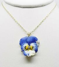 "14K YELLOW GOLD ANTIQUE ENAMEL PANSY FLOWER NECKLACE 16.25"" LONG  -  LB2429"