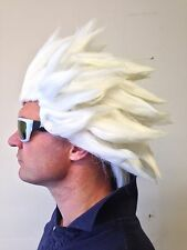 White Spiked Spikey Anime Wig Street Fighter Japanese Manga Hair Fancy Dress Con
