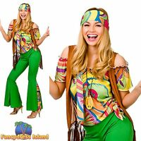 60s 70s GROOVY HIPPY HIPPIE PSYCHEDELIC UK 6-24 Women Ladies Fancy Dress Costume