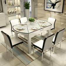 extendable dining table set and 6 metal leather chairs  new 2017