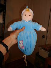 All About Baby Doll In Blue Removable Bunting Sewn Facial Features Soft Hat Toy