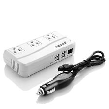 BESTEK DC to AC Power Inverter 200W Car Power Converter Adapter 4 USB&3 Outlet