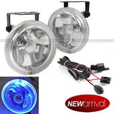 """For Dakota 4"""" Round Super White w/ Blue Halo Bumper Driving Fog Light Lamp Kit"""