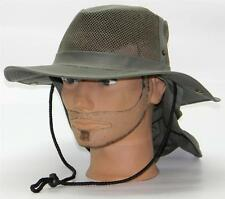 Men Summer Safari Outback Mesh Summer Hat W/Neck Flap #981 Olive Small