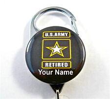 US ARMY RETIRED CARABINER ID BADGE HOLDER, RETRACTABLE REEL, KEYS, NURSE, DOCTOR