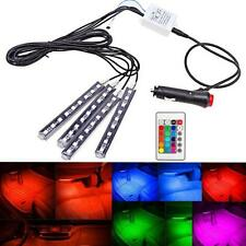 4x 9LED Remote Control Colorful RGB Car Interior Floor Atmosphere Light Strip HQ