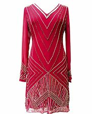 Ladies Gatsby Flapper Red Shift dress sizes 8 10 12 14 16 18 20 22 24