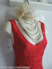Vintage 1920s Red Lace Crochet Fringe Tassel Deco Gatsby Charlesto Flapper Dress