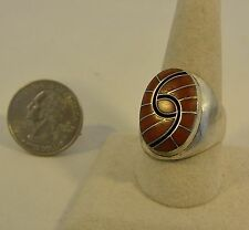 "Size 11.5 Ring Dickie Quandelacy Zuni Sterling Silver CORAL ""Hummingbird"" Great!"