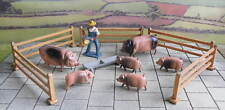 vintage 54mm lead Farm PIGS + PIGLETS + FARM HAND + FENCING - Timpo/Crescent